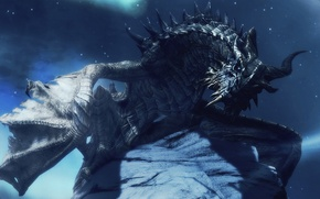 Picture dragon, look, night, wings, The Elder Scrolls V Skyrim, horns, stars