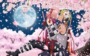 Wallpaper flowers, naruto, naruto, art, guy, anime, night, katana, girl, Sakura, stars, two, weapons, Uzumaki naruto, ...