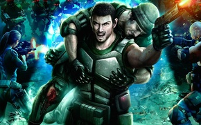 Picture team, cyberpunk, wounded, Binary Domain, action