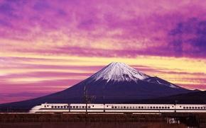 Wallpaper mountain, Train, Japan