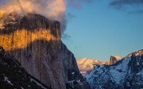 Picture snow, mountains, California, Yosemite Valley, national Park, Foresta