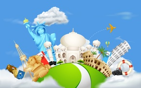 Picture the world, Taj Mahal, journey, Colosseum, attractions