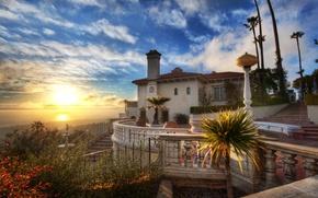 Wallpaper house, Sunset, the ocean, Hearst Castle, clouds, sunset