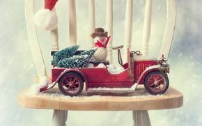 Picture machine, auto, chair, snowman, tree