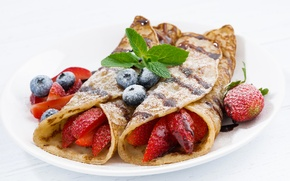 Picture berries, chocolate, strawberry, mint, blueberries, pancakes