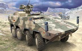 Picture figure, art, Boxer, APC, GTK, Dingo ATF, Armoured Transport Vehicle
