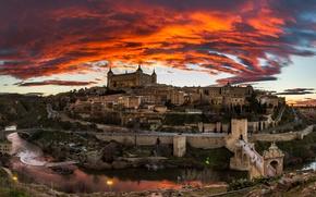 Picture the sky, clouds, landscape, bridge, river, castle, home, the evening, glow, Spain, Toledo