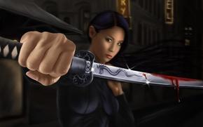 Picture girl, blood, hair, sword, katana, art, fist