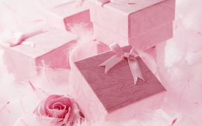 Wallpaper gifts, beads, holiday, surprise, pink, box, pearl