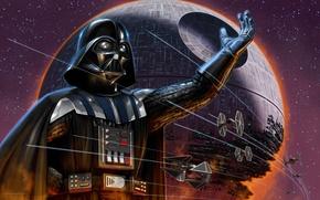 Wallpaper Star Wars, Darth Vader, Star wars, The Death Star, TIE-fighters