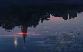 Picture Reflection, Lake, Building, Anime, Twilight, Makoto Xingkai, Anime, Twilight, Lake, Reflection, Buildings, The Garden Of …