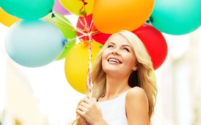 Picture balls, joy, happiness, balloons, girl, happy, woman, smile, balloons