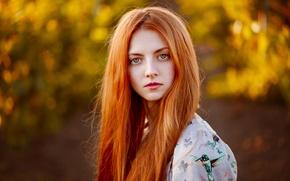 Picture portrait, redhead, Masha, natural light