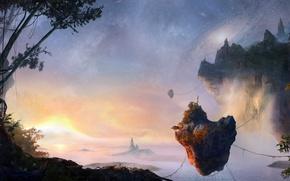 Wallpaper flying, Pandora, AVATAR, sea, the sky, Islands, stars, jungle