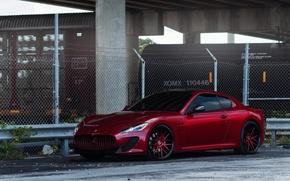 Picture red, Maserati, the fence, red, wheels, side view, Maserati, barbed wire, GranTurismo, The GranTurismo MC …