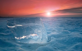 Picture cold, ice, snow, sunset, floe