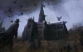 Wallpaper warrior, darkness, Cathedral
