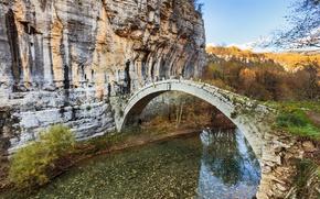 Picture the sky, mountains, bridge, river, rocks