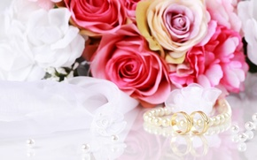 Picture flowers, bouquet, flowers, beads, engagement rings, bouquet, beads, wedding rings