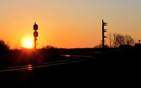 Picture the sun, dawn, Wallpaper, railroad
