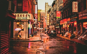 Picture people, street, New York, umbrella, puddles, stores, life, United States, rainy, Chinatown, restaurants cars