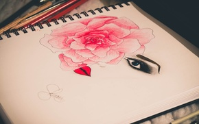 Picture flower, eyes, girl, woman, rose, people, portrait, lips, girl, rose, flower, woman, eyes, lips, face, ...