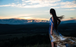 Picture sunset, mountains, the wind, Girl, the evening, mood.