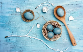 Picture eggs, Easter, blue, Easter, painted, eggs