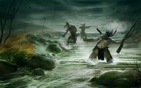 Wallpaper Empire: Total War, river, the path of war campaign, the Indians, fight