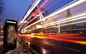 Picture road, light, the city, street, England, London, excerpt, puddles, booth