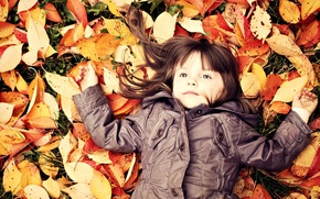 Wallpaper autumn, leaves, child, girl, baby, child, fallen