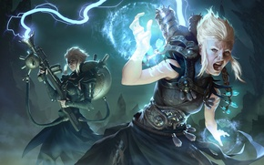 Picture the storm, girl, magic, lightning, science, figure, category, fantasy, art, girl, fantasy, the gun, magic, …