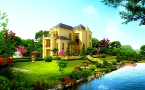 Picture nature, river, Villa, garden