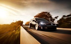 Picture road, black, speed, blur, Volkswagen, black, Golf, Golf, GTI, front, Volkswagen, Type 5G