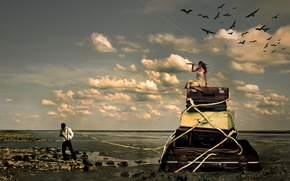 Picture sea, girl, the situation, guy, suitcases