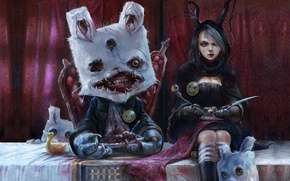 Picture eyes, table, surrealism, blood, monster, rabbit, mouth, knife, girl, plug, Alice, blind, the throne, smiley, ...