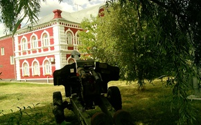 Picture summer, grass, trees, day, howitzer, eighties caliber