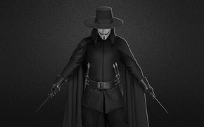 Picture black and white, mask, daggers, V for Vendetta, V for vendetta