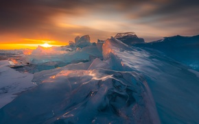 Picture ice, winter, sunset, nature