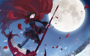Picture girl, snow, trees, weapons, the moon, anime, petals, art, braid, cloak, mizukai, ruby, rwby