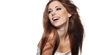 Picture girl, smile, laughter, teeth, brown hair