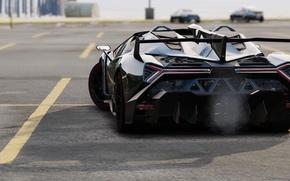 Picture asphalt, black, Lamborghini, Parking, back, GTA 5, Veneno Roadster