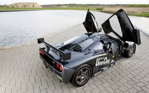 Picture landscape, black, McLaren, pool, door, track, back, gtr, racing, open