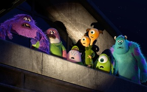 Picture roof, night, cartoon, stars, monsters, students, Academy of monsters, Monsters University, Inc., Monsters Inc., Monsters …