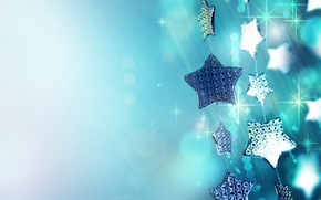 Wallpaper macro, holiday, blue, Shine, new year, sequins, sparks, new year, garland, stars, Christmas decorations