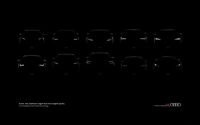 Picture machine, Audi, black background, lineup, Audi.