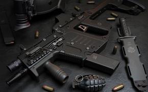 Picture gun, USA, weapon, charger, knife, pearls, ammunition, Kriss Super V, Kriss, ordnance, grenade, submachine gun, …