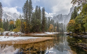 Picture winter, the sky, water, snow, trees, mountains, nature