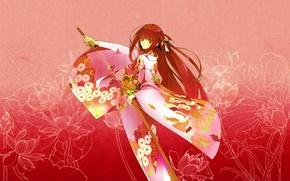 Picture girl, flowers, pattern, katana, red, kimono, pink background, sheath