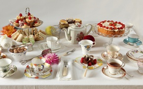 Picture parties, afternoon tea, full table